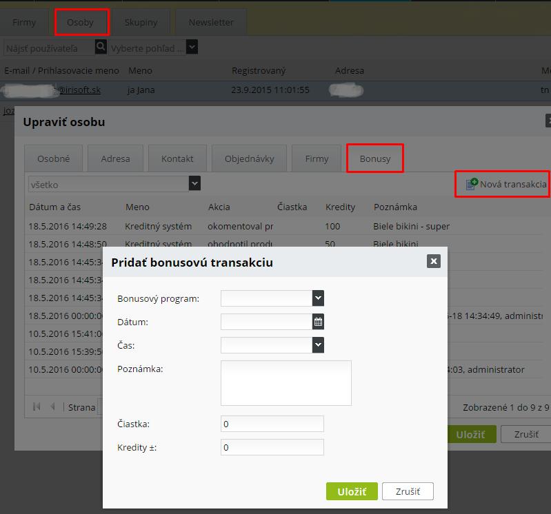 kreditový systém v e-shope, platba kreditmi za tovar