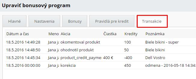 prehľad transakcií v bonusovom systéme, nákup produktov za kredity