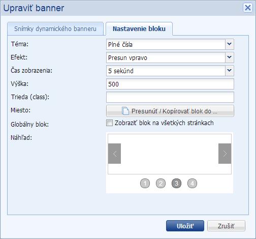 efekty v bloku dynamický banner