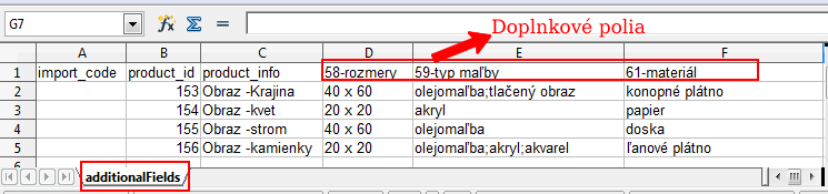 import doplnkových polí, import doplnkových polí flox 2.0