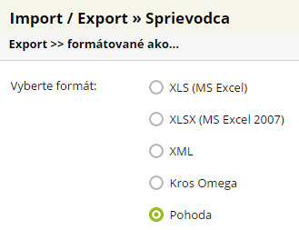 export do Pohoda