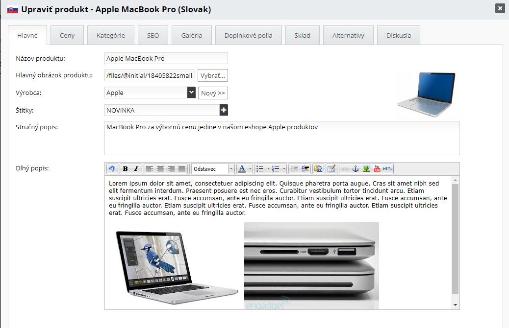hromadná úprava obrázkov v popise produktu