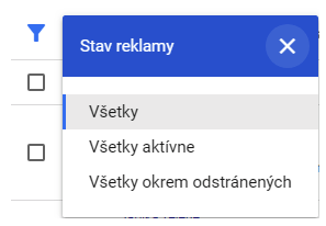 stav reklamy v AdWords