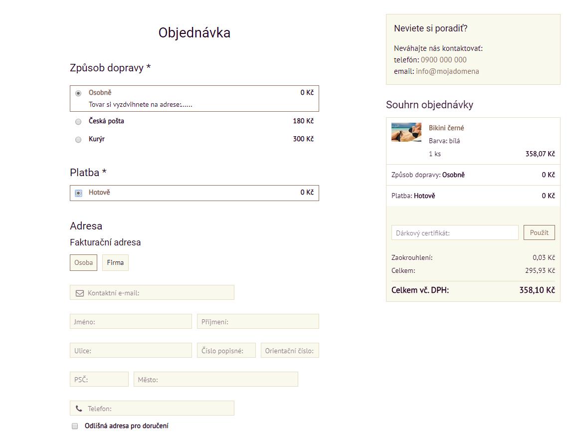 Objednávkový formulár s viditeľným súhrnom | BiznisWeb