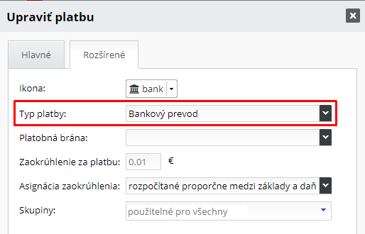 Typ platby pre QR kód | INTEO