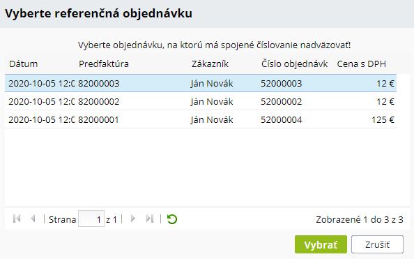 Výber referenčnej objednávky pre spojené číslovanie | INTEO