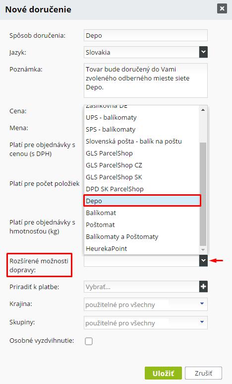 depo.sk - aktivácia DEPO.sk v e-shope