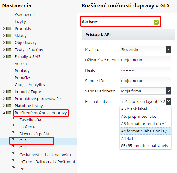 aktivácia priameho napojenia e-shopu na dopravcu GLS je jednoduchá a rýchla