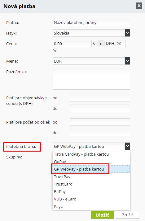 gp webpay nová platba