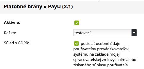 aktivace PayU
