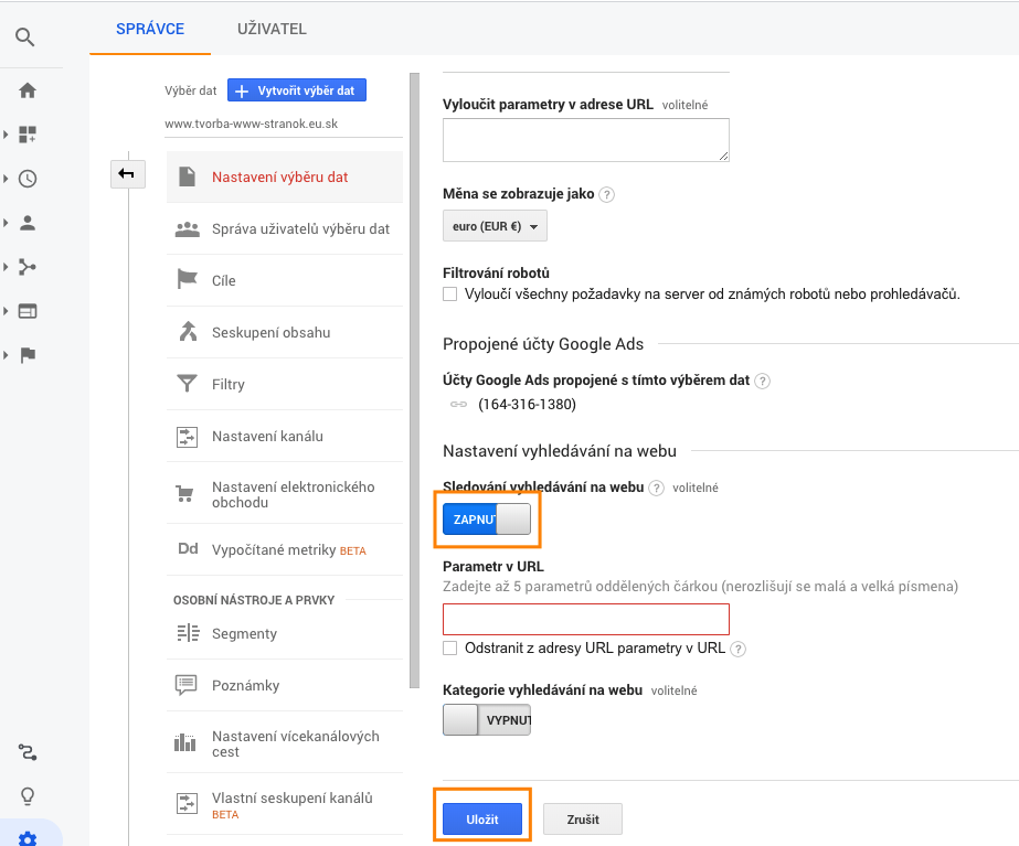 nastavenie google analytics e-commerce
