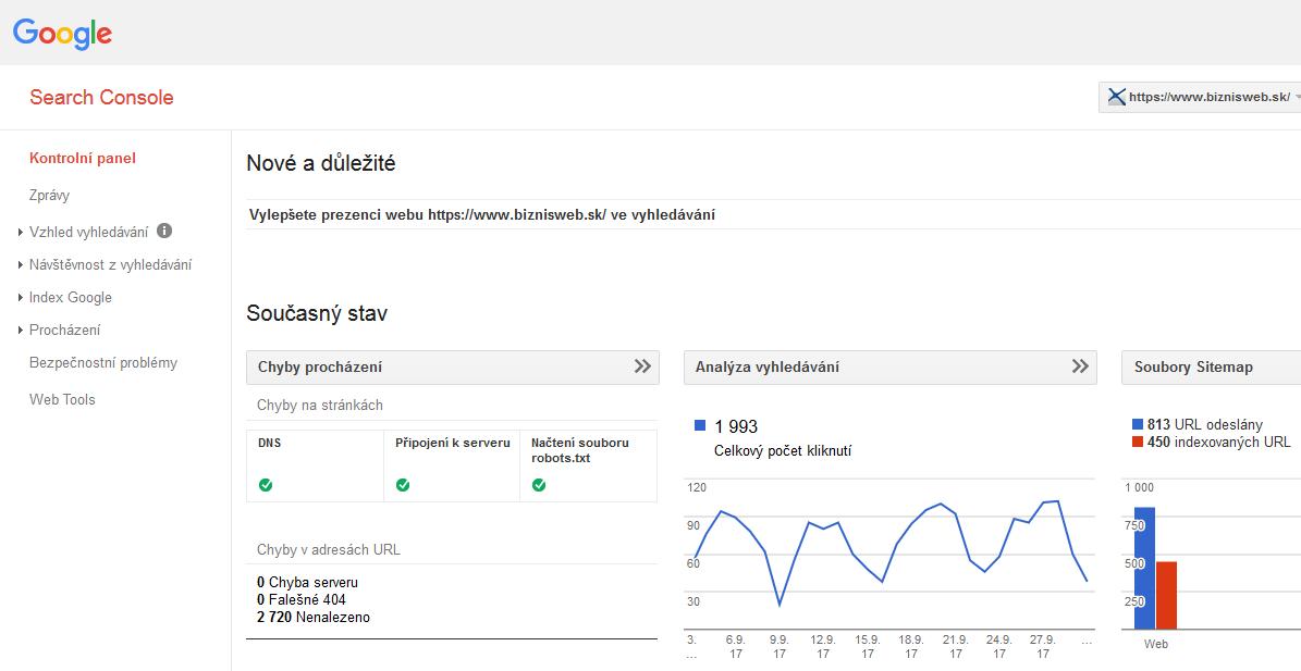 prehľad v google search console