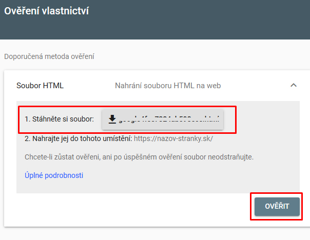 overenie vlastníctva prostredníctvom súboru HTML