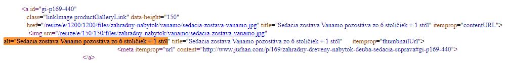 alternatívny text, alt tag v zdrojovom kóde stránky