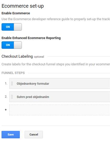 Enhanced ecommerce nastavenie v Google Analytics