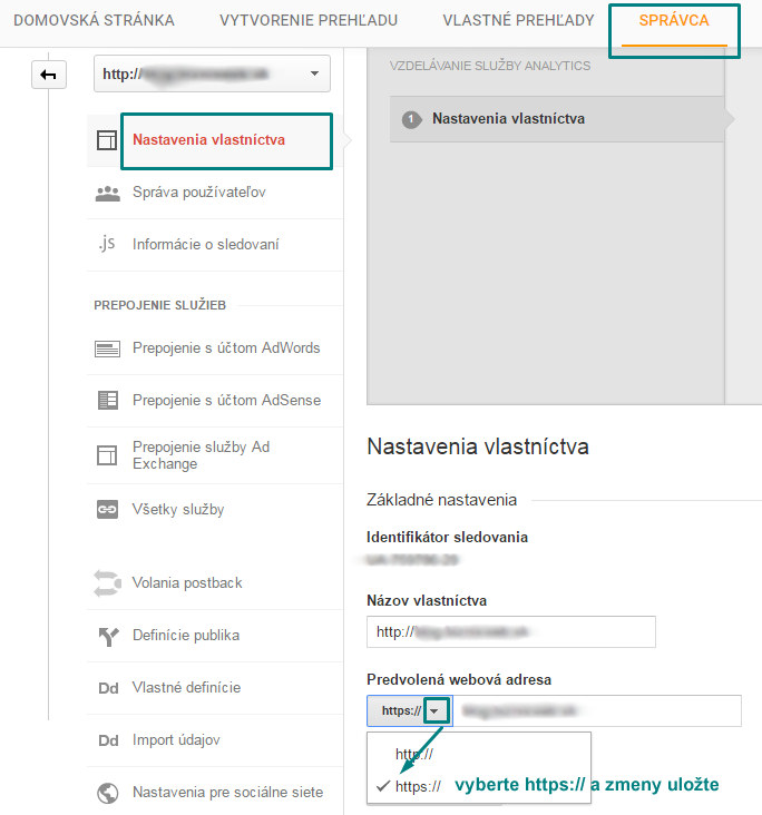 zmena na https v google analytics