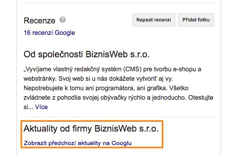 novinky a príspevky v Google My Business