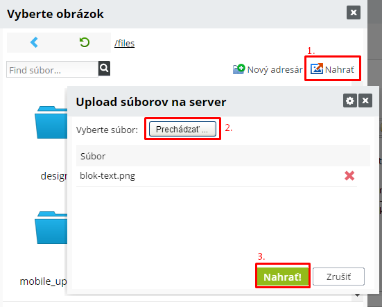 upload súborov na server