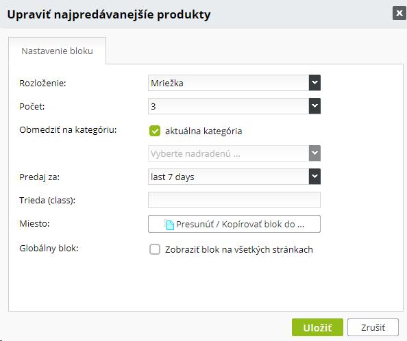 možnosti nastavenia bloku Najpredávanejšie produkty v e-shope od BiznisWebu