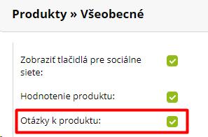 aktivácia funkcie Otázka na produkt v e-shope od BiznisWebu