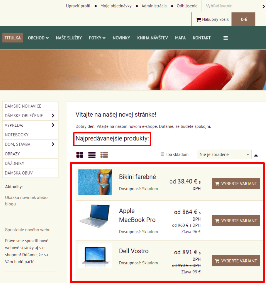 400496faf6e7 Najpredávanejšie produkty v e-shope - predaj produktov
