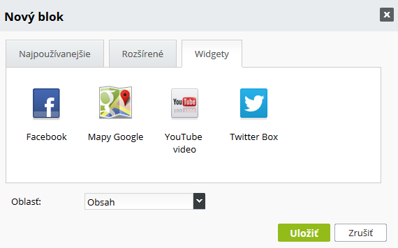 Facebook, Google mapy, Youtube a Twitter box